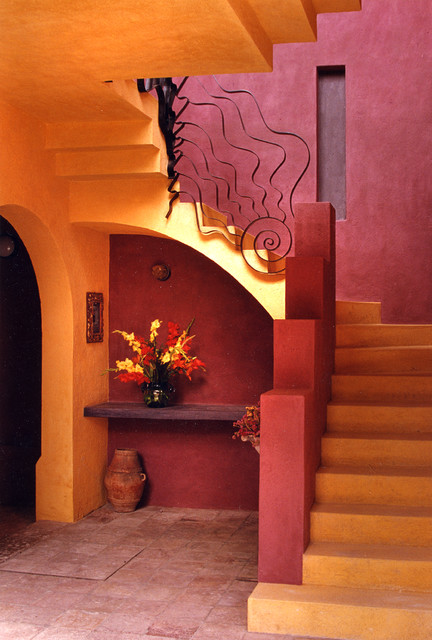 fake flower arrangements Staircase Eclectic with arched doorway floating staircase