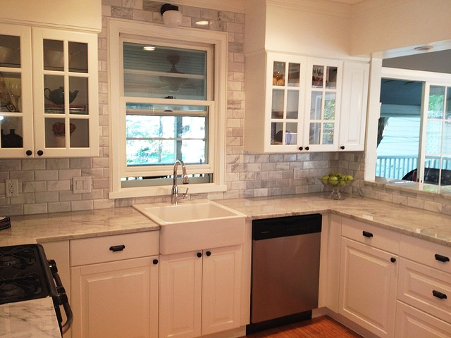 Farm Sink Ikea Kitchen Traditional with Carrara Carrara Marble Carrara