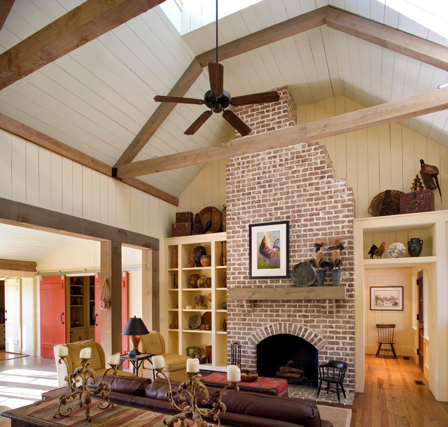 Faux Brick Panels Family Room Rustic with Barn Beams Brick Built In