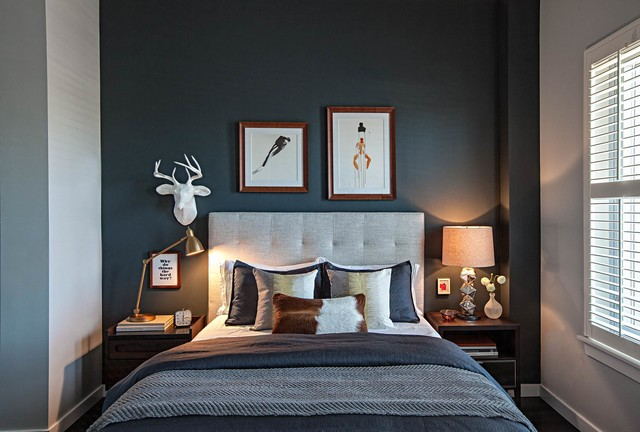 Faux Taxidermy Bedroom Transitional with Black Accent Wall Dark