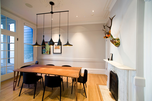 faux taxidermy Dining Room Contemporary with animal head black dining