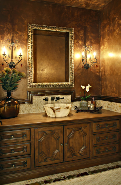 Faux Tin Ceiling Tiles Powder Room Traditional with Beige Tile Floor Bowl