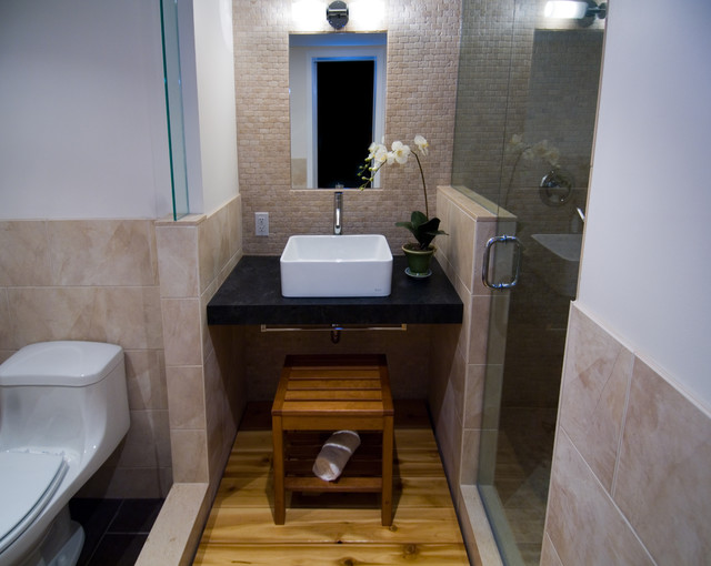 feng shui rules Bathroom Asian with black counter modern multi