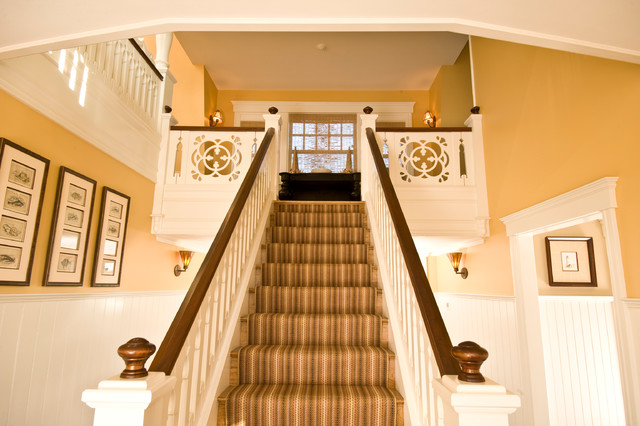 finials Staircase Traditional with beadboard dark stained wood