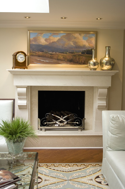 Fireplace Mantel Ideas Living Room Contemporary with Area Rug Blue And