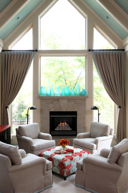 Fireplace Mantel Ideas Living Room Traditional with Aqua Ceiling Aqua Glass