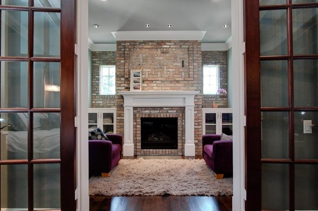 Fireplace Mantel Kits Family Room Traditional with Area Rug Brick Fireplace1