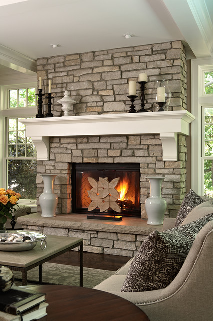 Fireplace Mantel Kits Living Room Traditional with Candles Coffee Table Coffered1