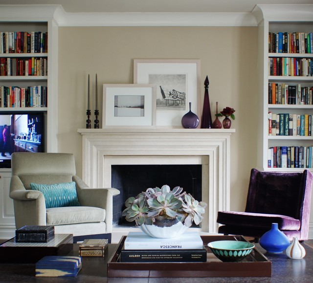 fireplace mantels Living Room Traditional with beige walls bookcase bookshelves