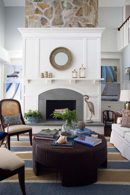 Fireplace Surround Ideas Family Room Beach with Carpeting Gray Walls Ledge