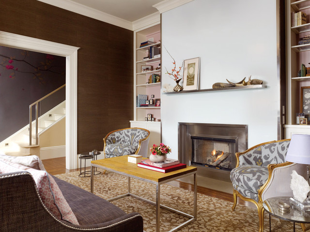 Fireplace Surround Ideas Living Room Contemporary with Accent Wall Area Rug