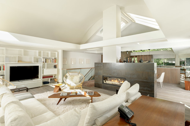fireplace surround ideas Living Room Contemporary with gas fireplaces living space