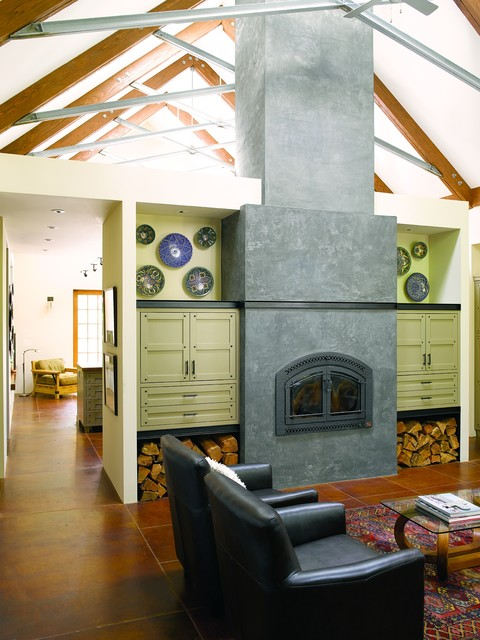fireplace xtrordinair Living Room Contemporary with beams beige wall black