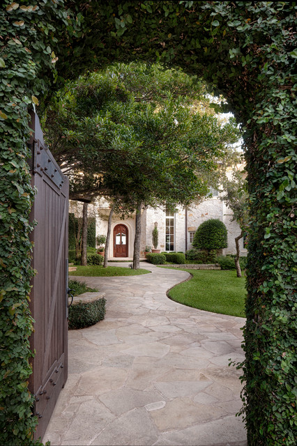 Flagstone Pavers Exterior Traditional with Arch Climbing Plant Curved