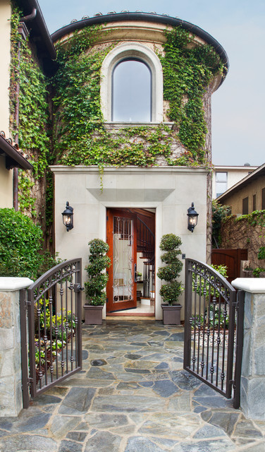 Flagstone Walkway Entry Mediterranean with Arched Windows Entry Gate