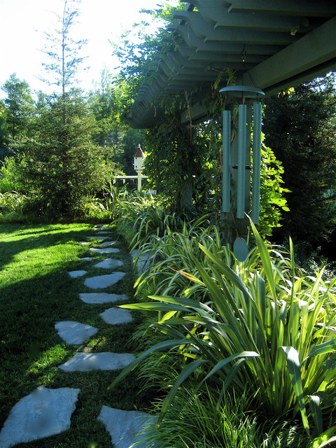 Flagstone Walkway Landscape Traditional with Arbor Flagstone Foliage Grass