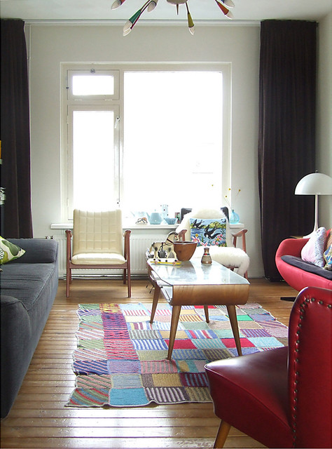 Flat Weave Rugs Living Room Midcentury with Art Bright Color Color