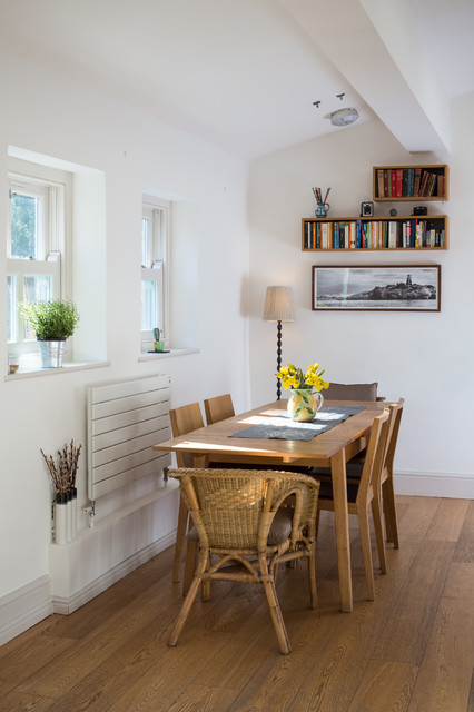 Floating Bookshelf Dining Room Eclectic with Airy Beam Beams Books