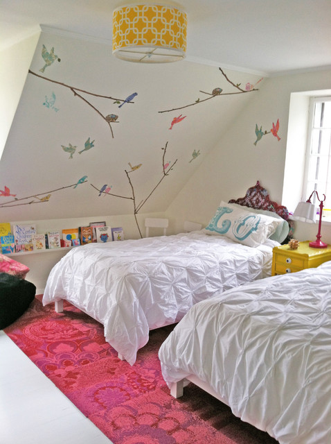 Floating Bookshelves Kids Shabby Chic with Attic Bedroom Bird Wall