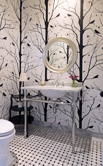 Floor Mirror Ikea Powder Room Transitional with My Houzz 1