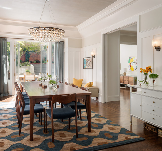fluffy rugs Dining Room Transitional with area rug blue board