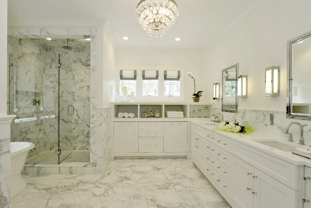 flush mount chandelier Bathroom Transitional with banded roman shades crown