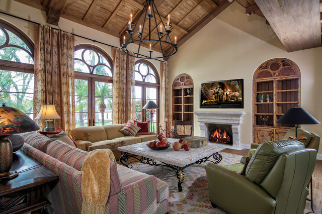 Flush Mount Chandelier Living Room Mediterranean with Arched Doors Arched Windows