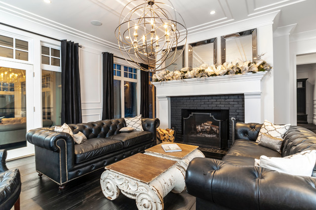 Flush Mount Chandelier Living Room Transitional with Black Black Brick Fireplace