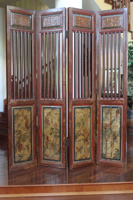 Folding Screen Room Divider Living Room Asian with Ancient Architectural Asia Asian