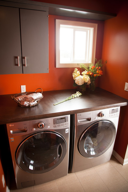 Folding Step Stool Laundry Room Transitional with Appliances Basket Beige Tile