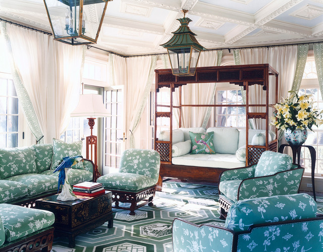 Four Seasons Sunrooms Family Room Eclectic with Dark Wood Coffee Table