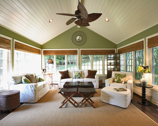 Four Seasons Sunrooms Sunroom Traditional with Area Rug Bamboo Blinds