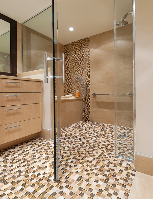 Frameless Shower Bathroom Contemporary with Accent Tile Ceiling Lighting