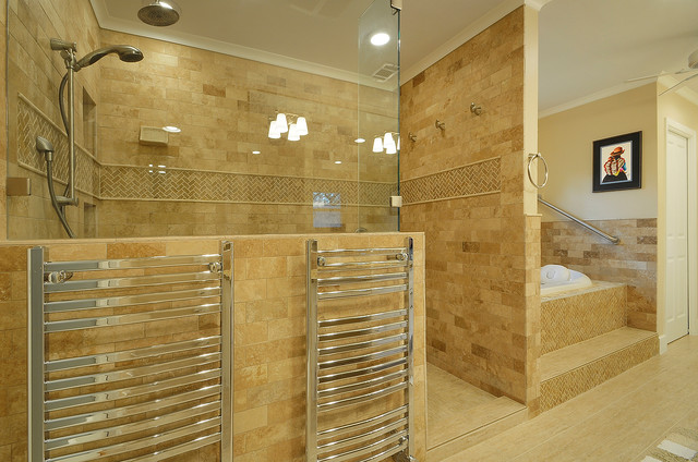 Frameless Shower Bathroom Traditional with Accent Tile Bathtub Beige