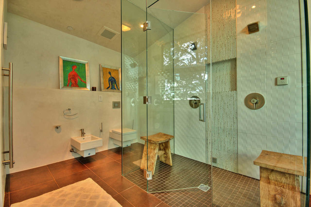 frameless shower door Bathroom Modern with beige walls brown tile