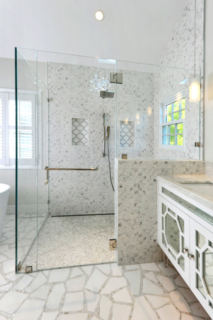 Frameless Shower Doors Bathroom Contemporary with Accent Tile Bright Bathroom