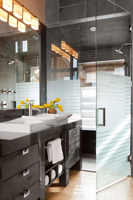 Frameless Shower Doors Bathroom Contemporary with Black White Black And