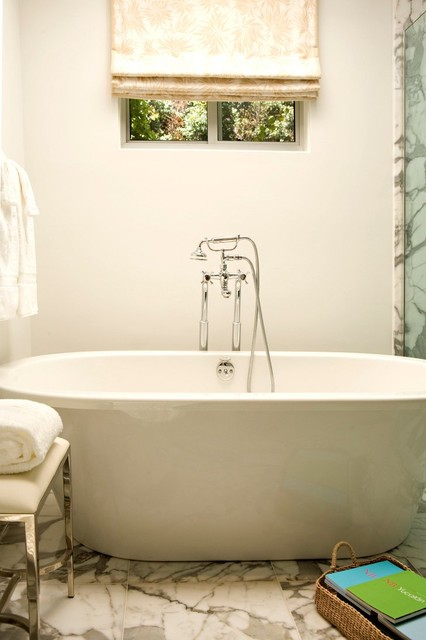 Free Standing Tubs Bathroom Transitional with Bathroom Calacatta Marble Floor