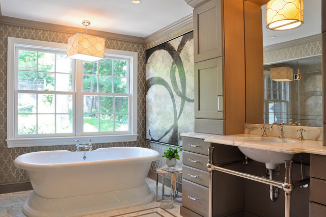 Freestanding Bathtub Bathroom Contemporary with Abstract Art Beige Cabinets