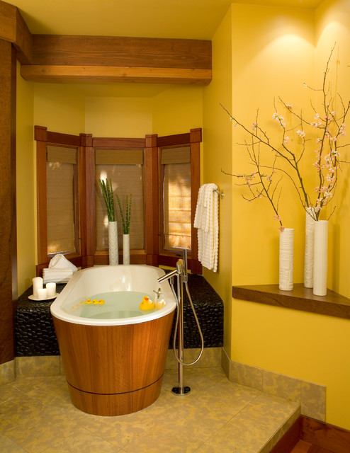 Freestanding Bathtubs Bathroom Asian with Brown Curtains Freestanding Bathtub