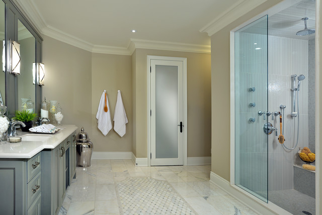 Frosted Glass Doors Bathroom Traditional with Baseboards Bathroom Caesarstone Ceiling