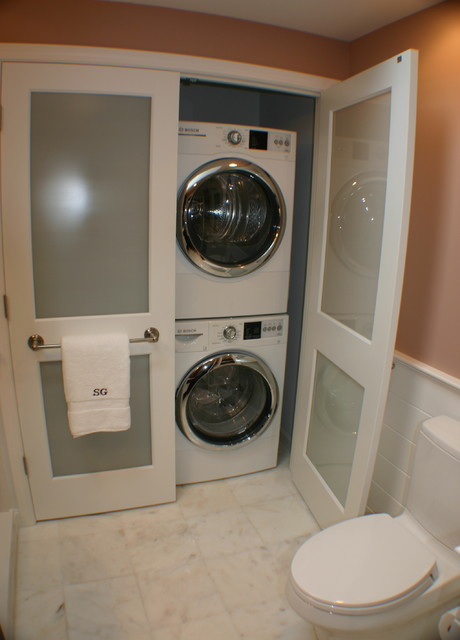 Frosted Glass Doors Laundry Room Transitional with Stackable Washer and Dryer
