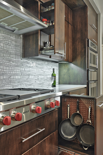 frying pans Kitchen Contemporary with cooktop dark wood cabinets