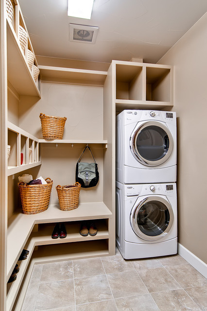 Full Size Stackable Washer and Dryer Laundry Room Traditional with Backpack Hoooks Cubby Holes