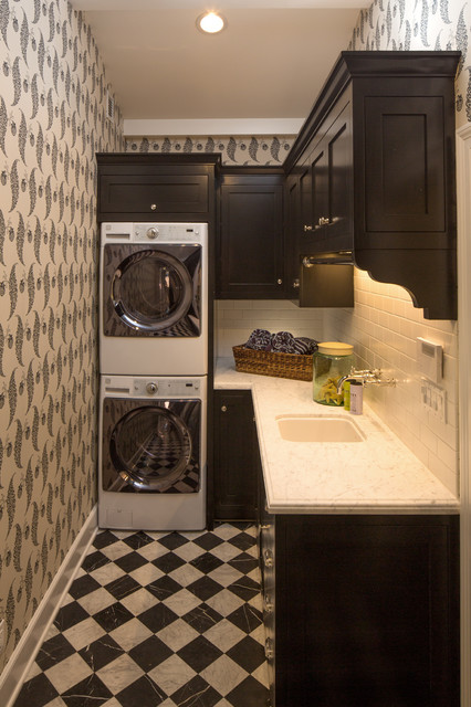 Full Size Stackable Washer and Dryer Laundry Room Traditional with Black and White Checker