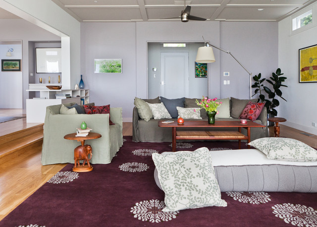 Futon Slipcover Living Room Contemporary with Area Rug Ceiling Fan