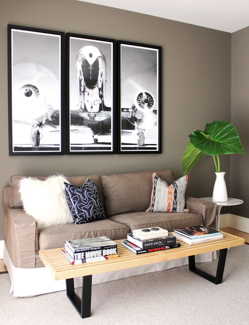 Futon Slipcover Living Room Contemporary with Black White Photograph Family