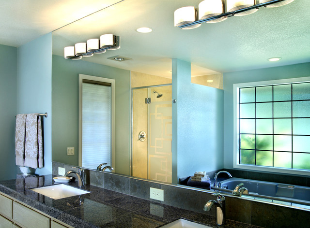 G9 Bulb Bathroom Contemporary with Blue Chrome Etched Glass