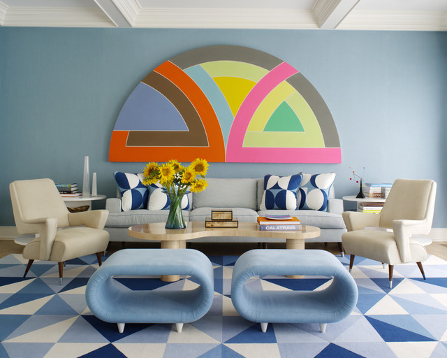 Gabby Furniture Living Room Midcentury with Artwork Blue Wall Carpeting1