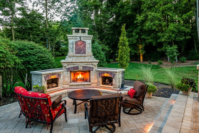 General Shale Brick Patio Traditional with Brick Fireplace Brick Patio